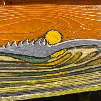 Surf artwork of an ocean wave at sunset by Jay Alders