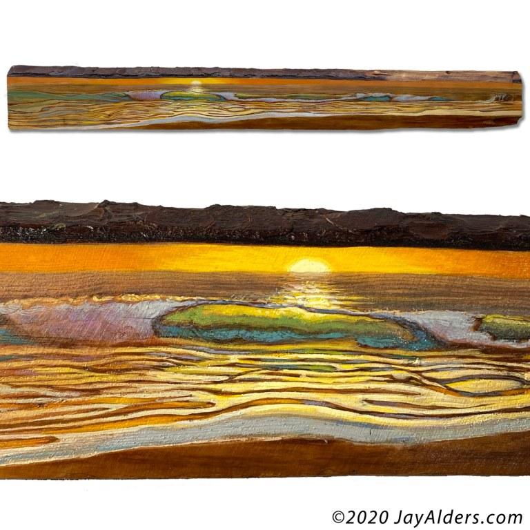 surf artwork on wood