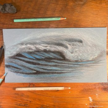 Ocean wave drawing in colored pencil by artist Jay Alders