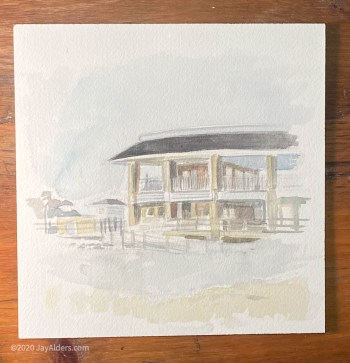Watercolor painting of Spring Lake Pavillion 8 30 2020 by Jay Alders