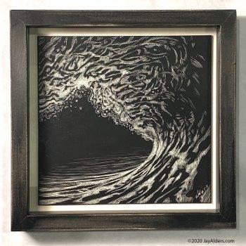 modern surf art drawing on scratchboard by jay alders