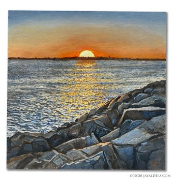 Sunset at the Inlet - painting of Manasquan Inlet by Jay Alders Jersey Shore based artist
