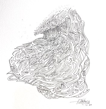 pen and ink modern surf art by Jay Alders