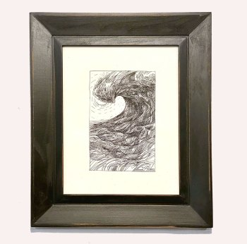 Modern Ocean Wave drawn in pen and ink
