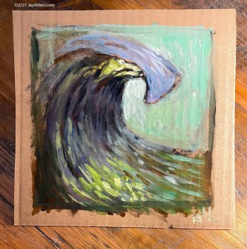 Stylized contemporary oil painting of an ocean wave by Jay Alders