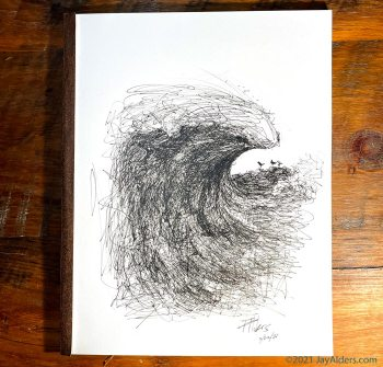 Modern Ink Drawing of an ocean wave by Jay Alders