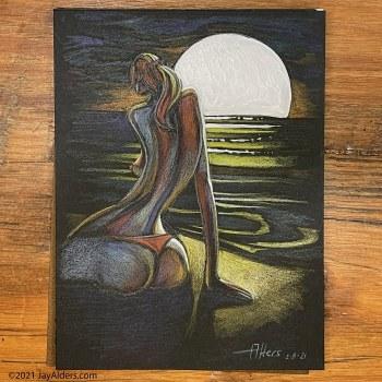 Curvy Woman on a beach, an original piece of art by Jay Alders