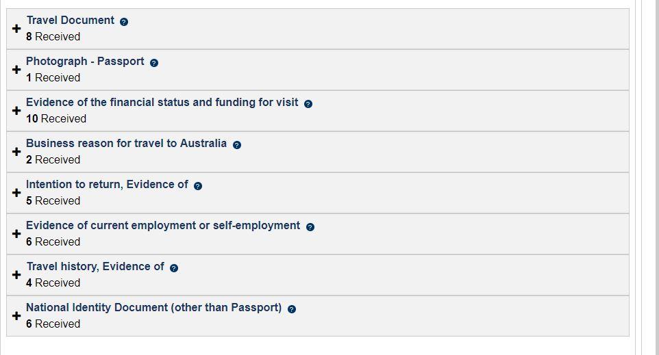 AU Visa documents