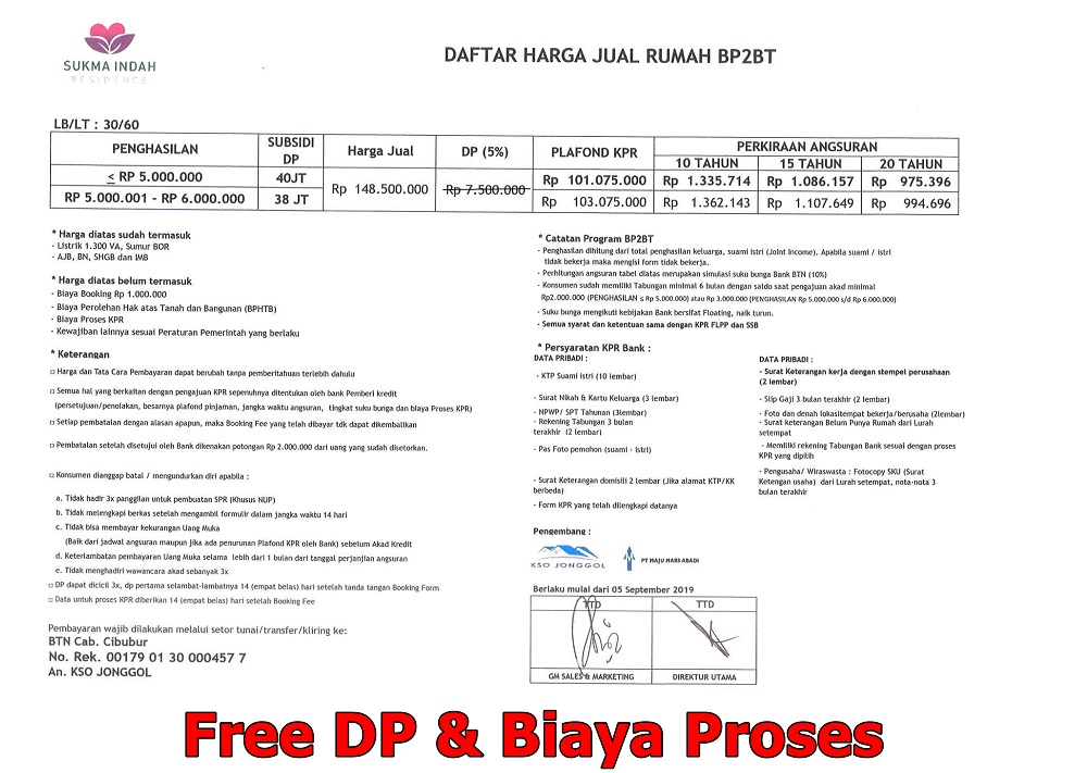 price list Gratis DP Rumah Subsidi