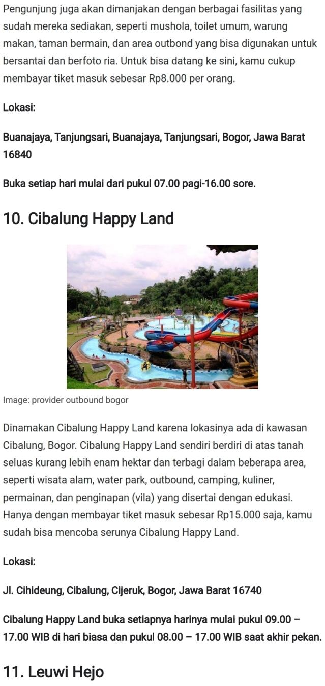 Tempat Wisata Keren di Bogor