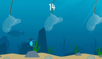 Safely maneuver your crab through the fishermen's nets.