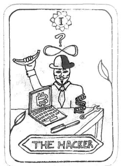 "The Hacker by Jay Cousins Inspired by 'The Magician' ""The hacker can read how the world works, this understanding of how things work gives him power over it. Reality is his to shape, to adapt to his will."""