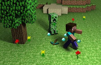 Steve running away from a Creeper, the iconic monster of Minecraft