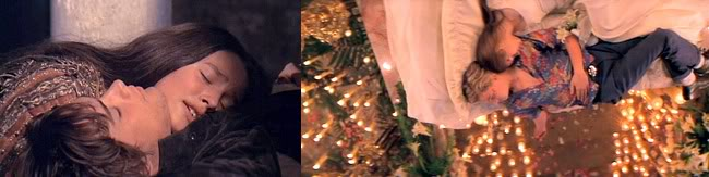 Comparison of death scenes in Romeo & Juliet films. Left: Romeo and Juliet (1968). Right: Romeo + Juliet (1996)