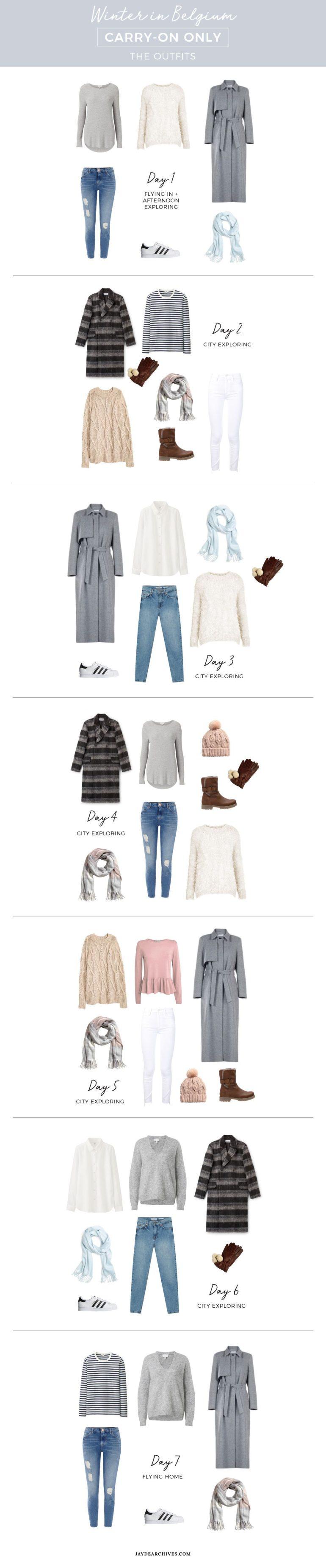 Winter carry-on only wardrobe for Belgium / Travel light packing list