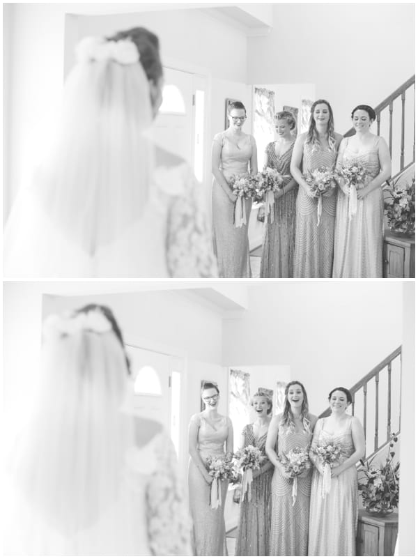 first looks with your bridesmaids on your wedding day