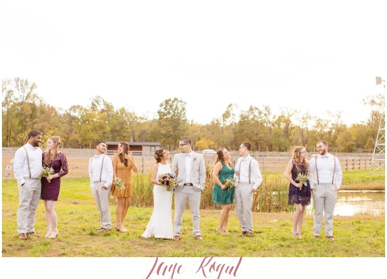fall wedding inspiration, mismatched bridesmaid dresses