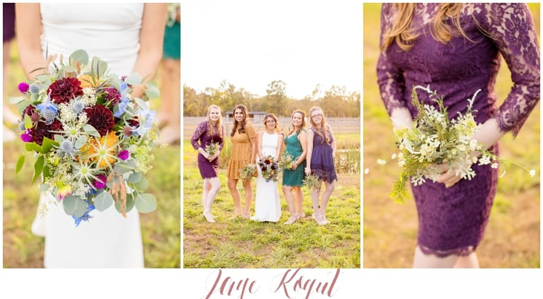 fall wedding inspiration, mismatched bridesmaid dresses, rustic wedding details in NJ, Cecil Creek farm wedding
