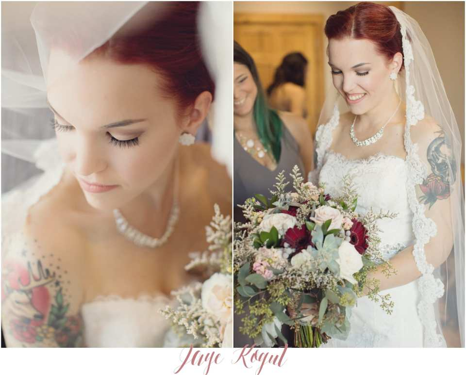 Allure bridals wedding gowns, red head brides, tattooed brides, NJ wedding photographer