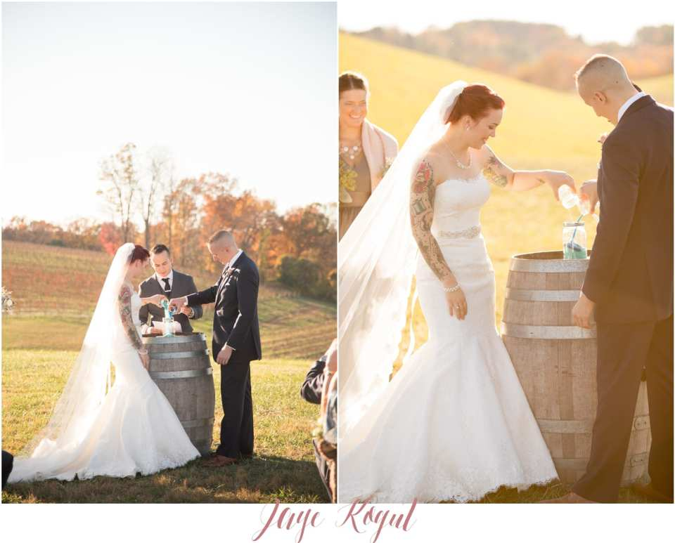 Linganore winecellar wedding ceremony, allure bridal gown