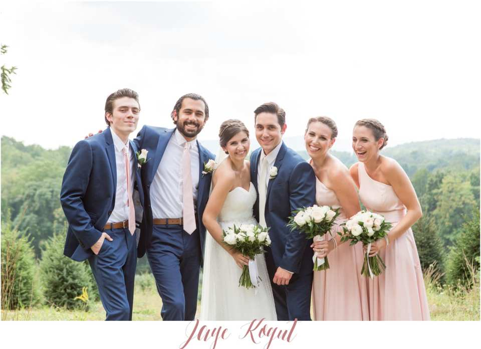 blue groomsmen and pink bridesmaids, small bridal party photos