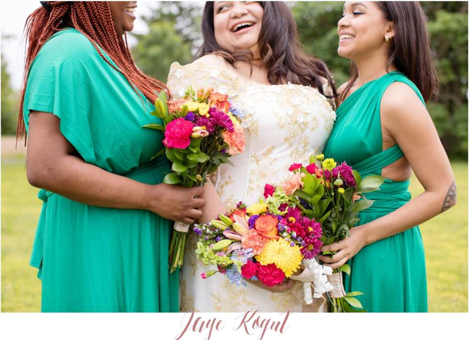 green and pops of color bouquets