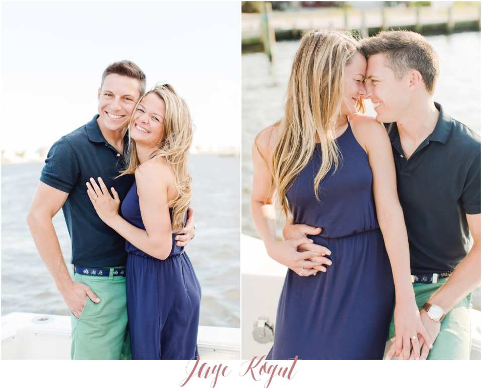 engagement photos on a boat, ideas for your engagement session outfits, navy blue engagement session outfit, point pleasant beach photos