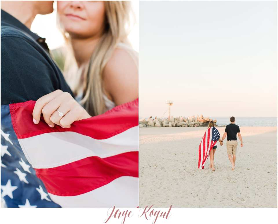 engagement photos on independence day, cute engagement photos at the beach, bride and groom to be walking on the beach, american flag engagement session