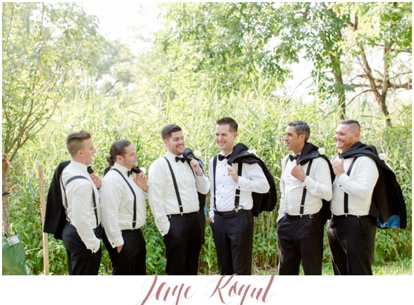 groomsmen wearing suspenders, small groomsmen parties