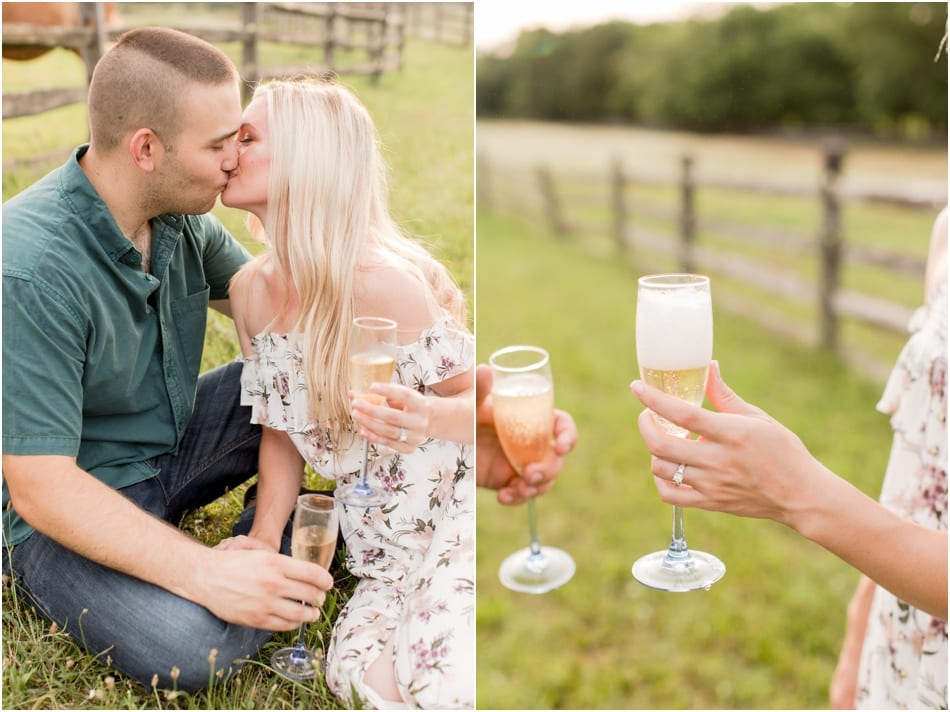 engagement sessions with props, champagne toast at engagement session, engagement photos with champagne, NJ weddings, New Jersey Horse Farm Engagement Photos