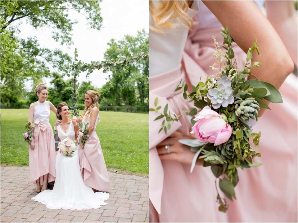 unique succulent floral arrangements, corsages for bridesmaids
