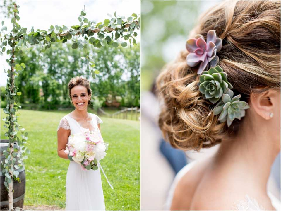 succulent wedding hair designs, succulents in wedding hair
