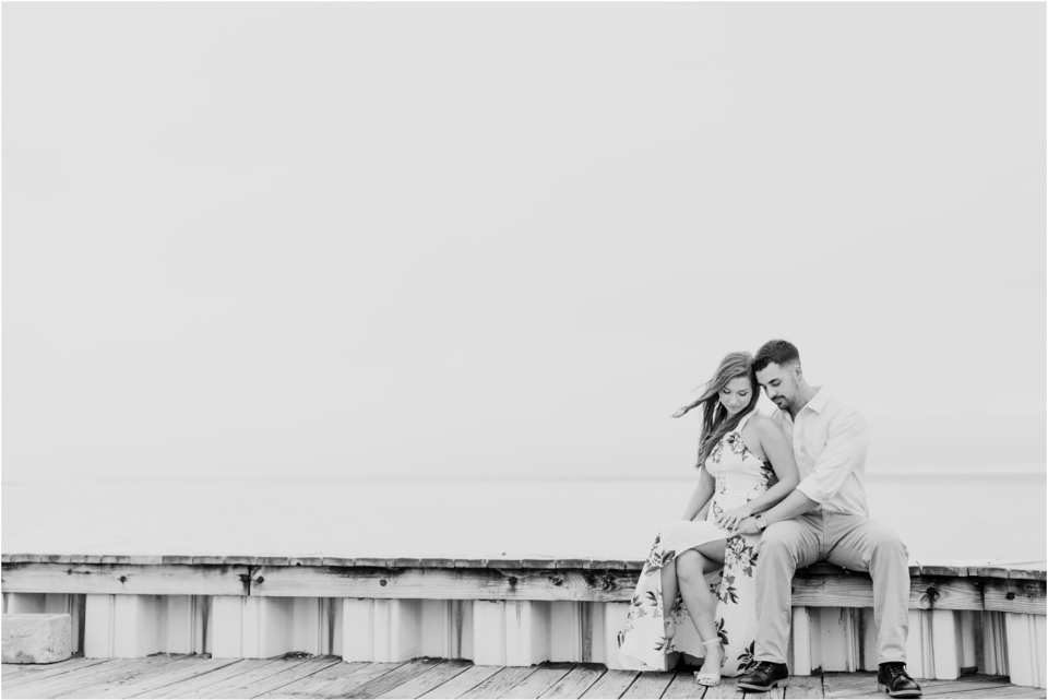 engagement photos on the bay in New Jersey, black and white portraits