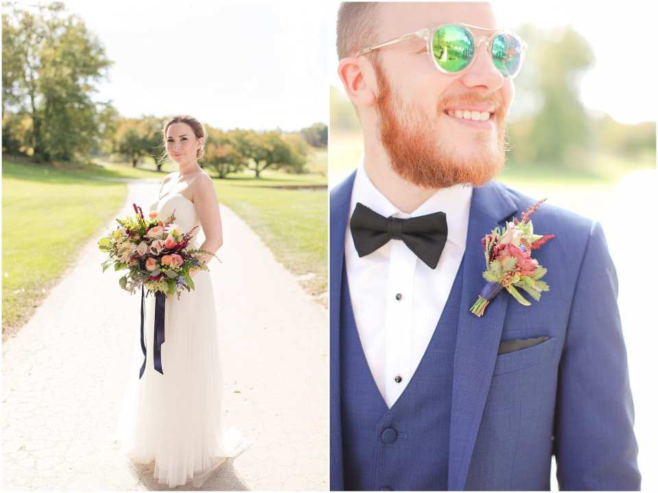 cottage flower design, blue tuxedo for a groom