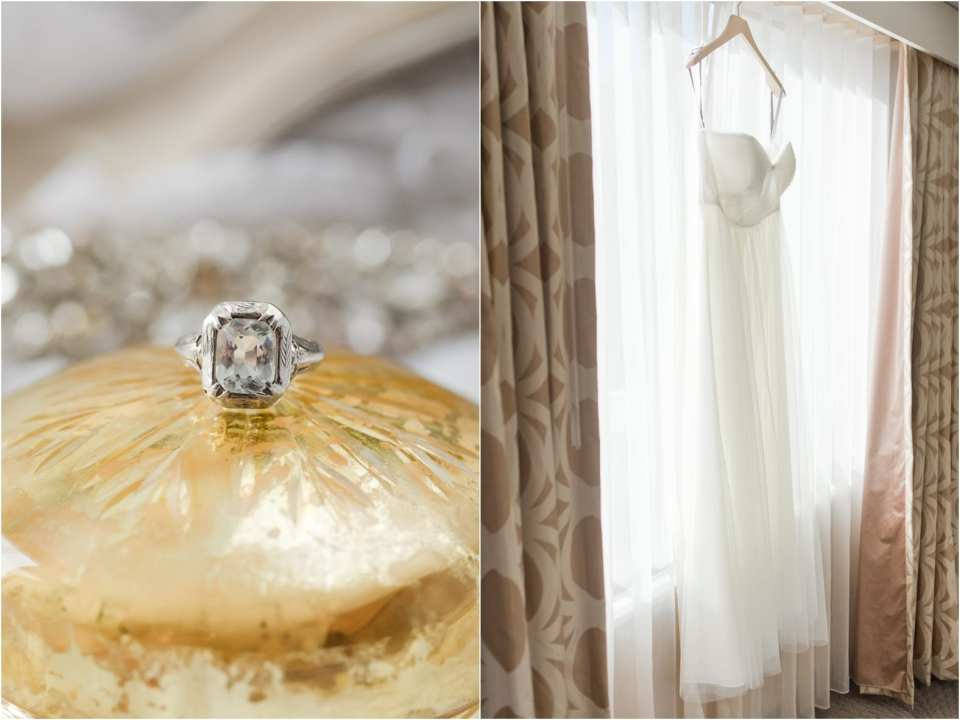 vintage engagement ring, BHLDN wedding dress