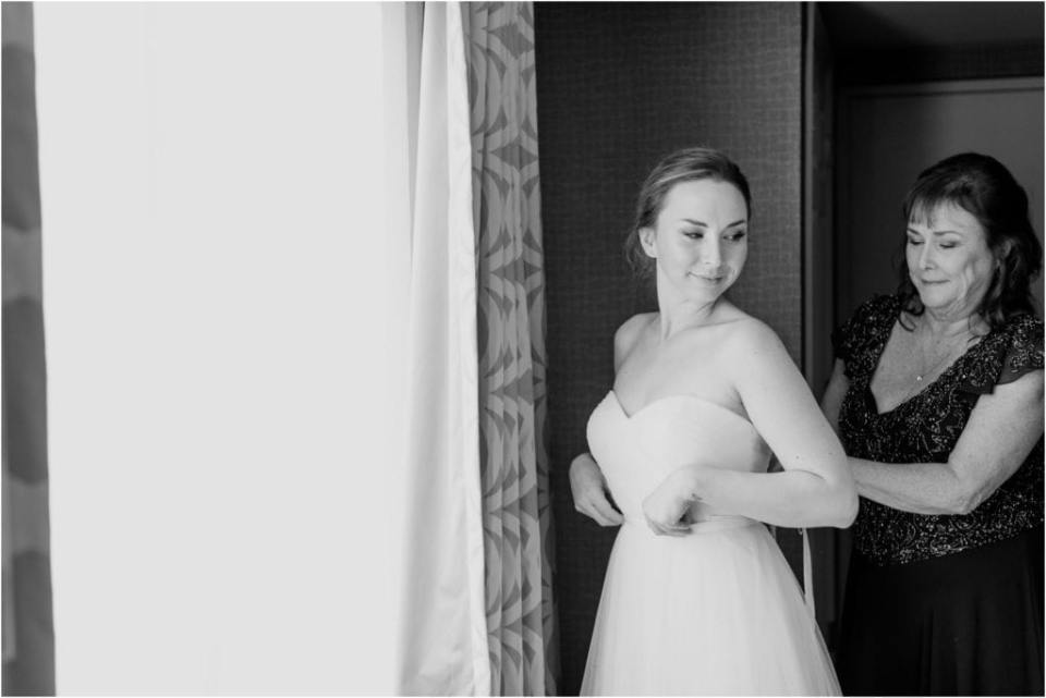 black and white wedding photos, candid getting ready photos