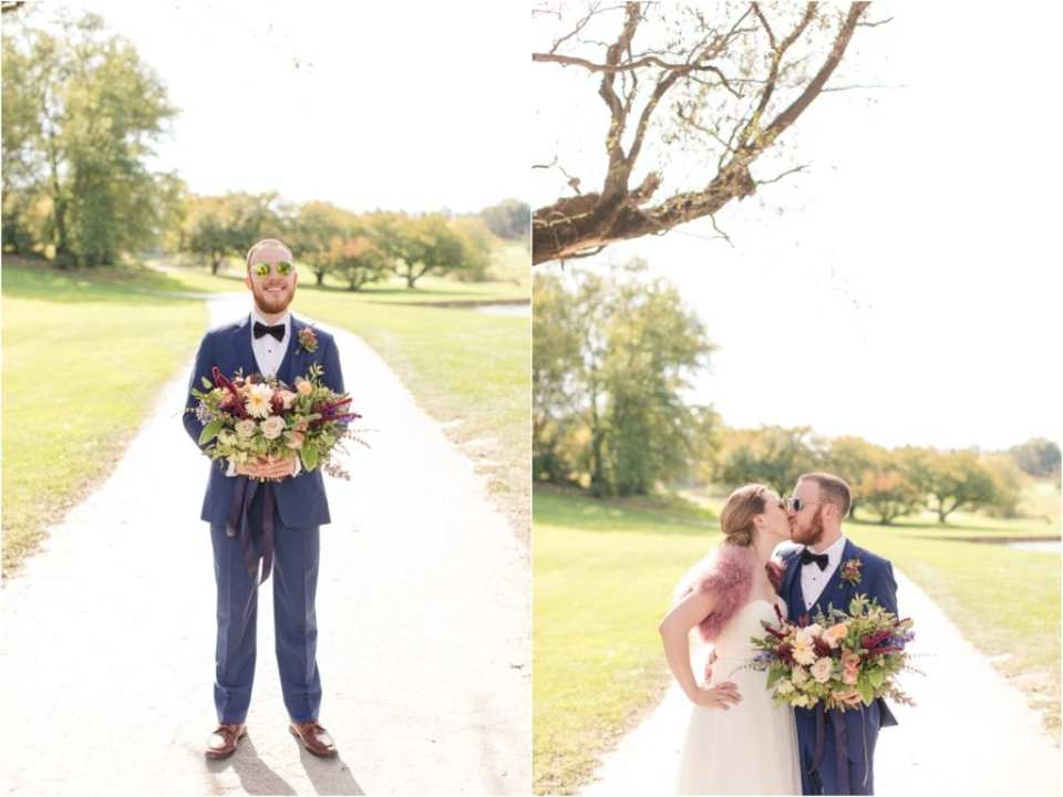 groom holding the bouquet, loose wedding bouquet ideas