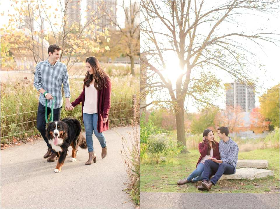 chicago engagement photos, engagement photos with your dog, rock island lake club weddings