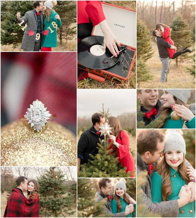 christmas tree farm engagement photos, NJ tree farms, christmas engagement photos