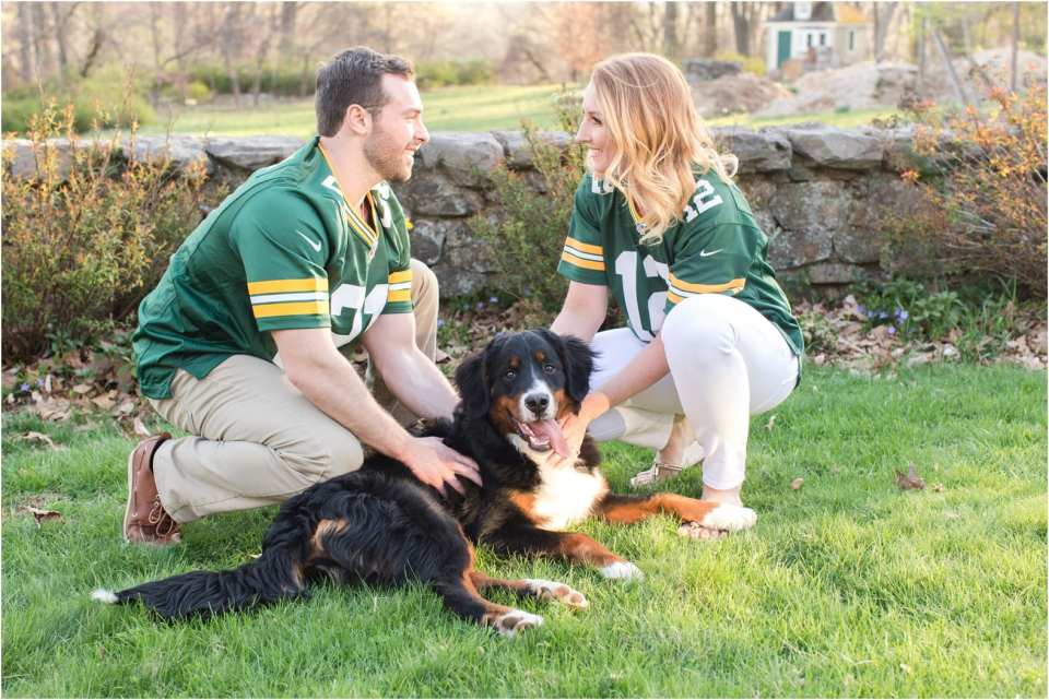 football fan engagement session, engagement photos with football jerseys