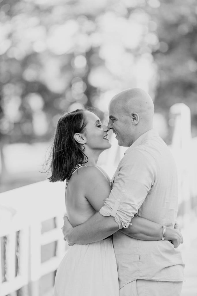 Devine Park, black and white engagement photos