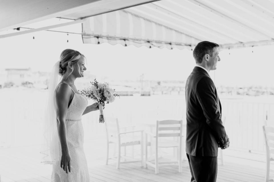 first look photo, black and white photo, NJ wedding photographer, Brant Beach Yacht Club weddings