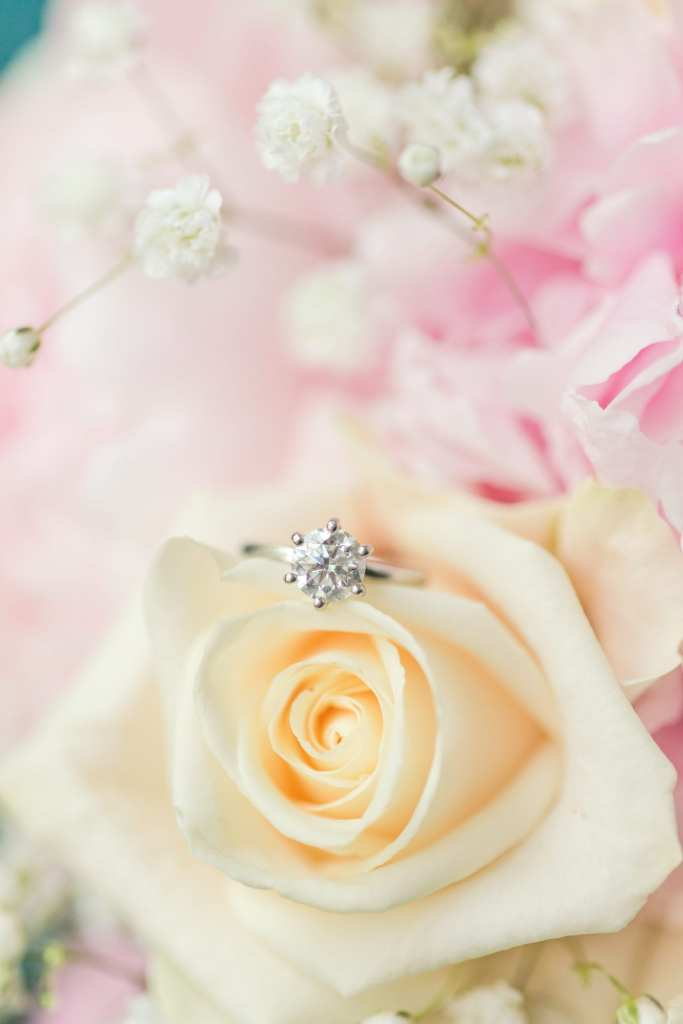 single diamond engagement ring, bright and airy wedding photography NJ