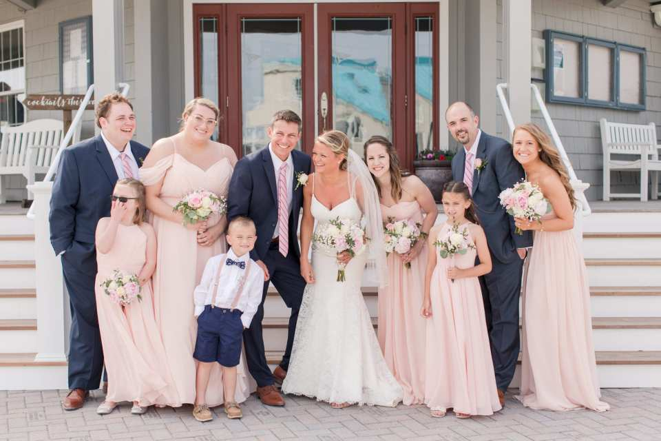 long beach island wedding, blush bridesmaids, navy groomsmen, NJ wedding photographer, Brant Beach Yacht Club wedding