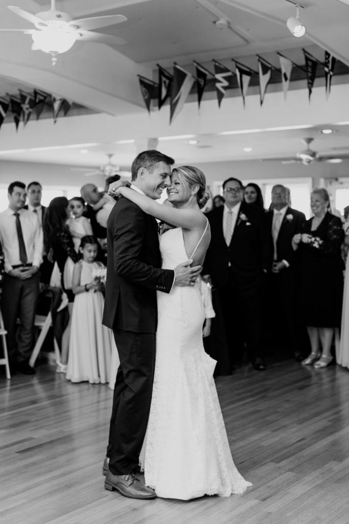 first dance, black and white photo