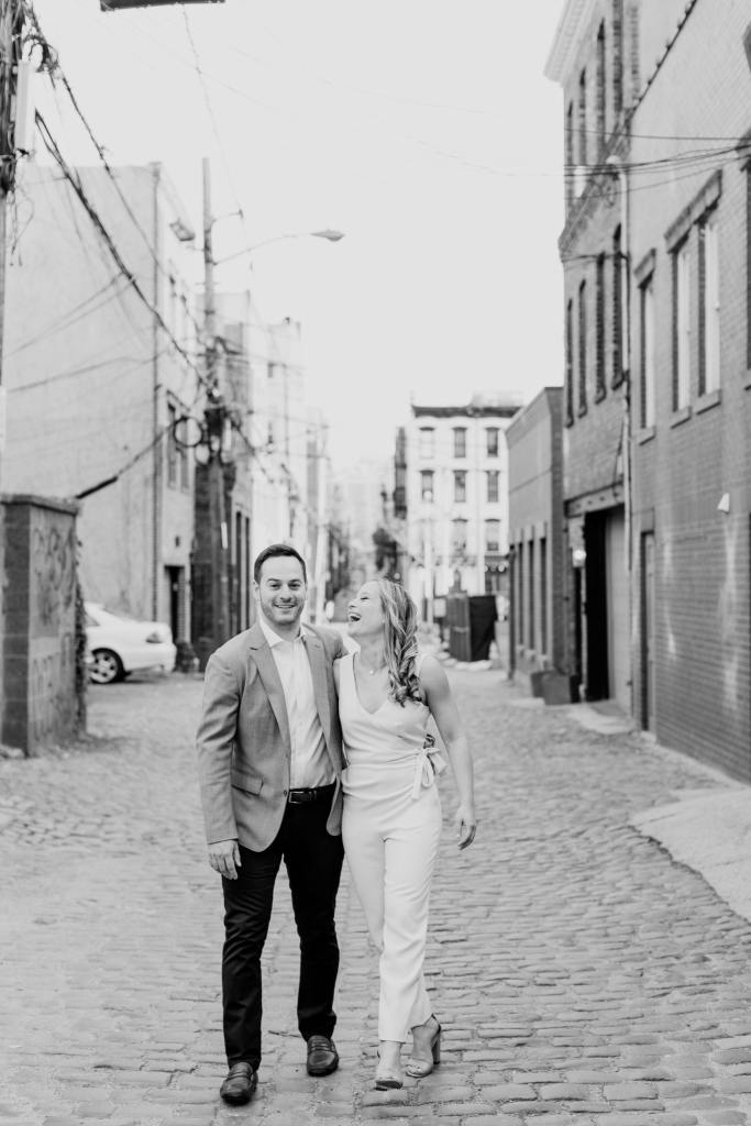 fun engagement photo, black and white photo, hoboken engagement shoot