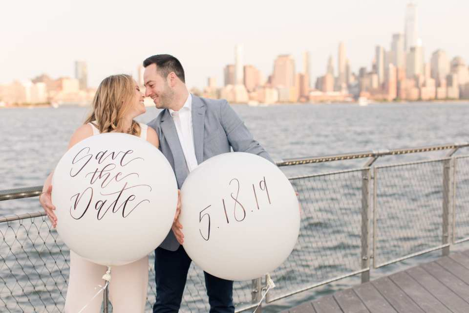 props in engagement photo, giant balloon save the date, kate spade balloon photos