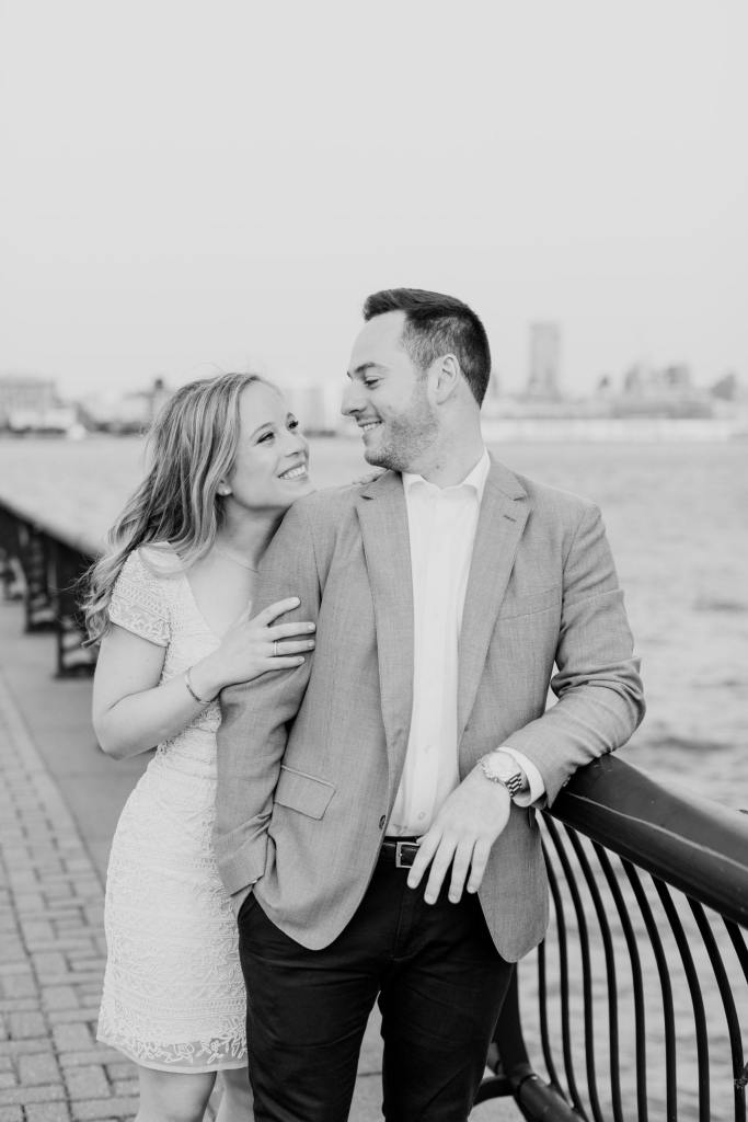 hoboken engagement photo, black and white photo