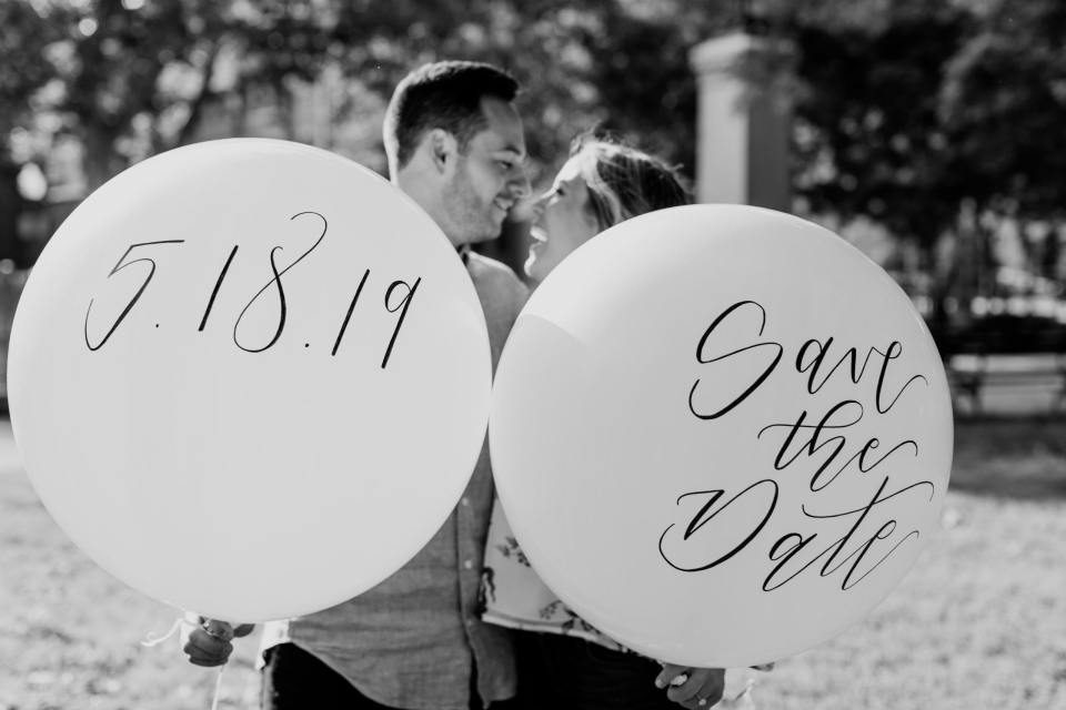 giant balloon save the date, incorporating props into engagement shoot, save the date ideas, nj wedding photographer