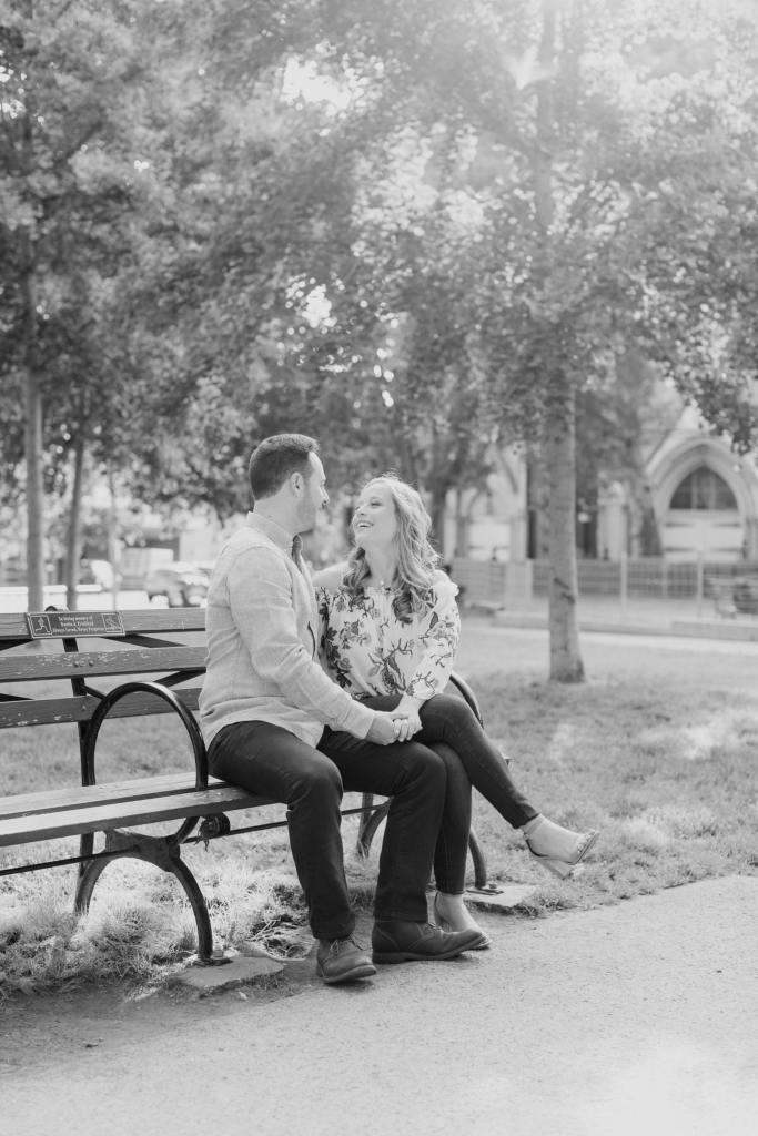 park bench engagement photo, casual engagement photo attire, north jersey wedding photographer, new jersey wedding photographer